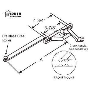 Hand, Front Mount, Stainless Steel Roller, Black, 13 1/2 Long Arm