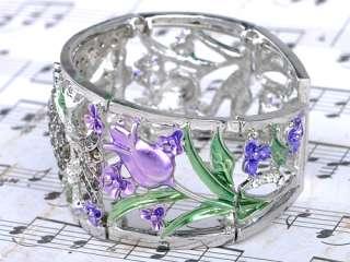 Silvery Crystal Rhinestone Owl Purple Rose Flower Fashion Bracelet