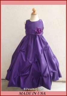 NEW PURPLE FLOWER GIRL TODDLER PAGEANT DRESSES 2   14