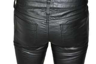 TRIPP NYC VEGI LEATHER LOOK GOTHIC PUNK BLACK GOTH PVC JEAN PANTS
