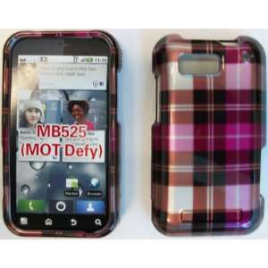 MOTOROLA DEFY MB525 HOT PINK PLAID CASE Cell Phones