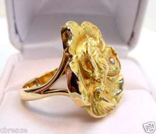 ART NOUVEAU LADY CAMEO PROFILE ANTIQUE 14K GOLD RING