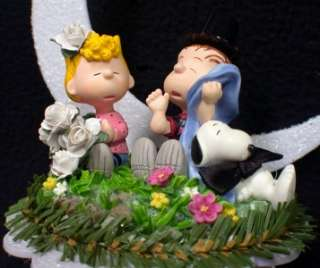 Peanut gang LINUS & SALLY Snoopy Wedding Cake topper Charley Brown