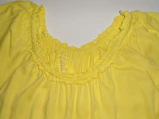 GRACE ELEMENTS Yellow Ruffle Scoop Neck Short Sleeve Shirt Top L NWT
