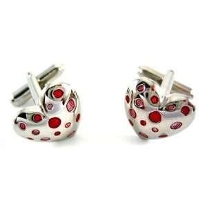 Geoffrey Beene Red & Pink Hearts Love Cufflinks Jewelry