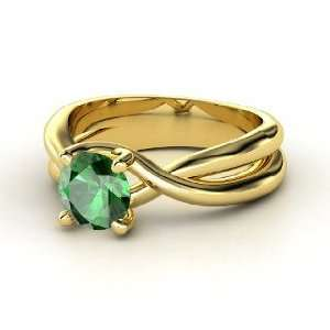Entwined Ring, Round Emerald 14K Yellow Gold Ring Jewelry