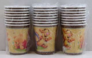 Baby Winnie Pooh Shower Banner 24 Plates Cups Napkins