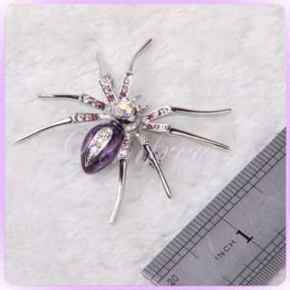 Silver tone Spider Crystal Rhinestone Clip Pin Brooch
