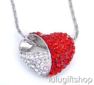 RED WHITE HEART PENDANT NECKLACE USE SWAROVSKI CRYSTALS