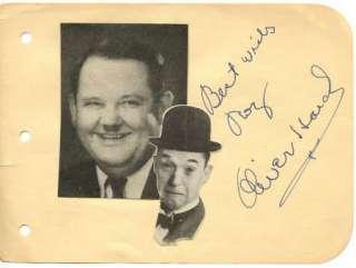 OLIVER HARDY VINTAGE 1940s ORIGINAL SIGNED ALBUM PAGE AUTOGRAPHED