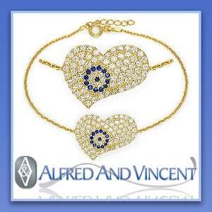 Evil Eye Turkish Nazar Greek Hamsa 18k Gold Heart Charm Sterling