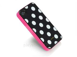 New White Pink Polka Dots 3in1 Case Cover for Apple iPhone 4 4s Screen