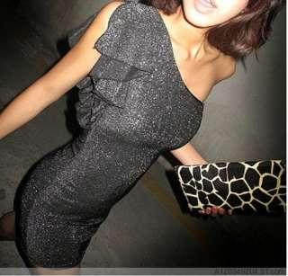 Shoulder Sparkling Black Clubbing Cocktail Mini Dress