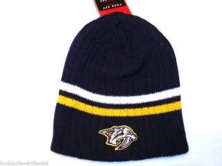 NASHVILLE PREDATORS NHL 2 STRIPE RIBBED KNIT BEANIE HAT SKULY SKI CAP