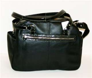 Addison Black Leather Laptop Baby Diaper Bag Tote Purse NWT