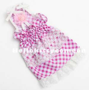 Party Wedding Pet Dogs Puppy clothes Pink Lattice Skirts Sling Dress