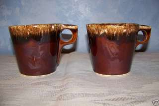 Hull Pottery brown drip lot of 2 coffee cups mugs EUC