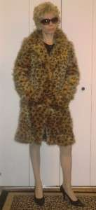 BETSEY JOHNSON HAIRY FAUX FUR LEOPARD ANIMAL PRINT DESIGN COAT S XS