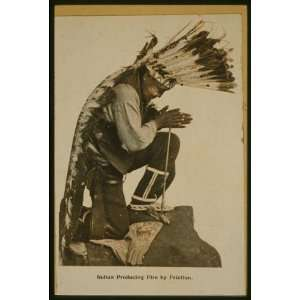 Indian producing friction fire,War Bonnet,headdresses