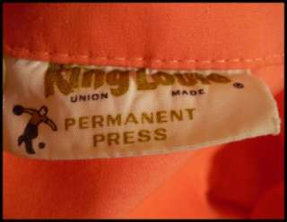 vtg 50s 60s King Louie Bowling Shirt Peach Monogram XXL