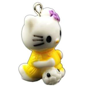 DIY Jewelry Making 1x Hello Kitty Resin Pendants, Yellow