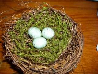 Grape Vine Birds Nest w/Moss * Eggs * Flowers * Moss * Woodland