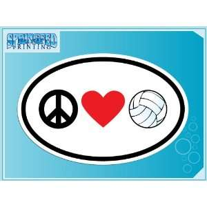 PEACE LOVE VOLLEYBALL euro oval vinyl decal car truck