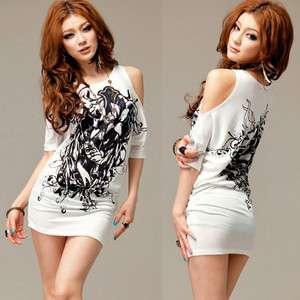 Korea Women Off Shoulder Tops T shirt Mini Dresses XS S
