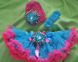 TuTu skirt Crochet Beanie band bow baby girl bright red