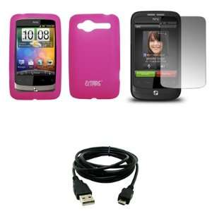 Hot Pink Silicone Skin Cover Case + Screen Protector + USB Data Cable