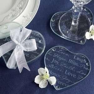 Good Wishes Heart Shaped Glass Coasters   Set of 2 Health
