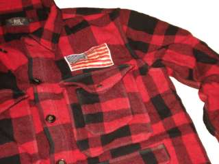 RRL Ralph Lauren Polo Red Plaid Flannel Jacket Coat L Wool