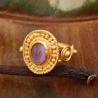 ROMAN STYLE 24K SOLID YELLOW GOLD AMETHYST RING BY OMER (22K)