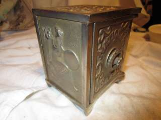 ANTIQUE VINTAGE OLD NATIONAL SAFE MECHANICAL CAST IRON BANK