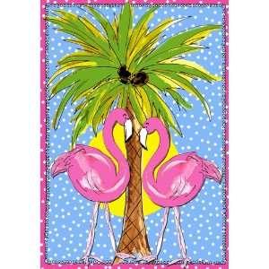 Tropical Moonlight Pink Flamingos Beachy Palm Tree