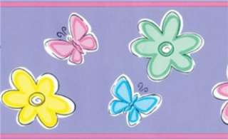 BEDTIME BUTTERFLY FLOWERS Girls Room Decor WALL BORDER