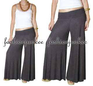 BLACK Long GAUCHO PANTS Wide Leg Flared Palazzo Boho Bohemiam Stretch