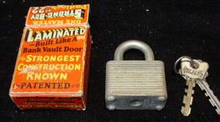 Vintage Master Lock Co. STRONG BOY No. 22 Padlock in Original Box with
