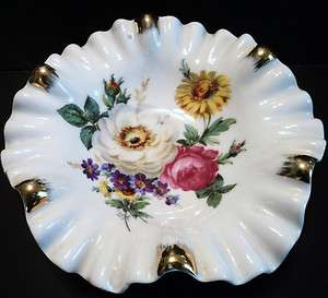 Vintage Mitterteich Bavaria Germany Porcelain Ruffled Bowl