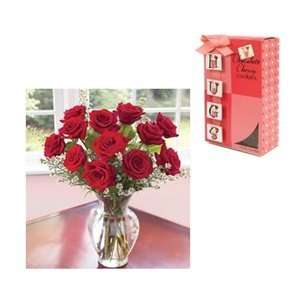 Valentine Flowers and Treats   One Dozen Premium Red Roses