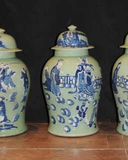 Set 4 Nanking Pottery Chinese Ginger Jars Urns Porcelai