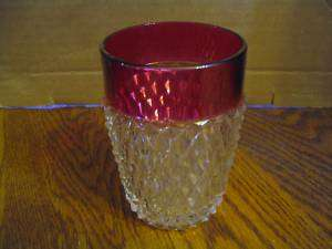 Vtg. Indiana GlassDiamond PointCranberry Rim Tumbler