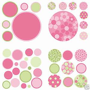 42 Wall Pops Stickers PINK GREEN Room Decor Girls Decals FLOWERS BR14