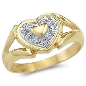 Size  12.5   14k Yellow and White Gold Two Tone Heart Love