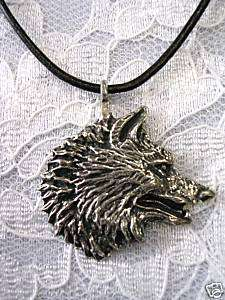LARGE WOLF HEAD PROFILE PEWTER PENDANT LEATHER NECKLACE