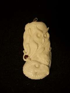Carved Ox Bone Mammoth Owl Wolf Eagle Totem Pendant