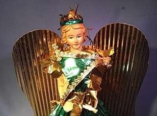 TT2 * BEAUTIFUL GOLDEN ANGEL CHRISTMAS ORNAMENT ANTIQUE GERMAN