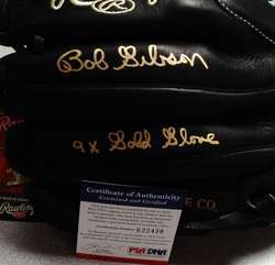 BOB GIBSON 9x GOLD GLOVE SIGNED AUTOGRAPHED RAWLINGS GOLD GOLVE GAME