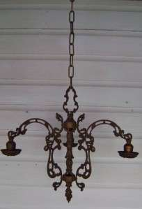 Antique 3 Arm Art Deco/Gothic Metal Chandelier Hanging Light Fixture