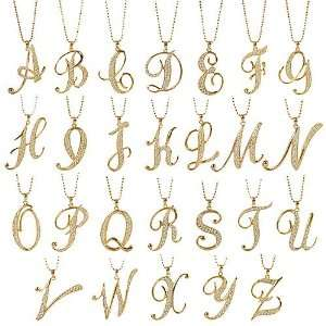 Gold Tone Initial Pendant Necklace   Choices A to Z